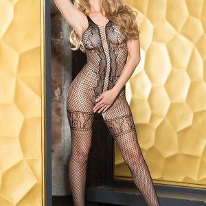 HOT 90361 Fishnet Geometric Lace Bodystocking